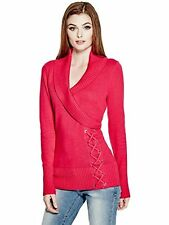Guess Sweater Women's Shawl Collar w- Lace Up Detail Pullover Top S XL Pink NWT