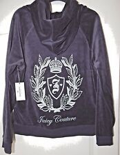 NWT JUICY COUTURE VELOUR PLEATED HOODIE BLUE LEAFY CREST SILVER LOGO Size M; L
