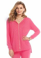 NEW Juicy Couture Rhinestone High Low Pink Hoodie Jacket Size S-M-L-XL SHIP FAST