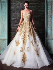 2017 Luxury Beads Wedding Dresses Gold Appliques Sweetheart Bridal Gowns Custom