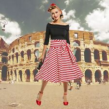 Vintage 1950s Red and White Striped Full Skirt Dress pinup rockabilly 50s