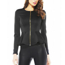 LADIES BLAZER ZIPPED FITTED COAT WOMENS SUIT JACKET CASUAL TOP UK STOCK