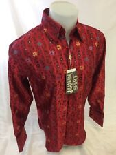 Mens MANZINI Button Down Dress Shirt Woven RED FLORAL PAISLEY FRENCH CUFFS 17021
