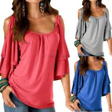 Womens Off Shoulder Casual Loose Shirt Blouse Short Sleeve T-Shirt Boho Tops