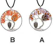 1 Pair Quartz Purple Crystal Natural Necklace Tree Of Life Chakra Necklace