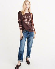 Abercrombie & Fitch Sweater Women's Logo Graphic Pullover Top M Burgundy NWT