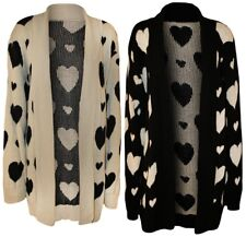 NEW WOMEN'S LADIES HEART PRINT KNITTED CARDIGANS IN PLUS SIZE = 16 - 26