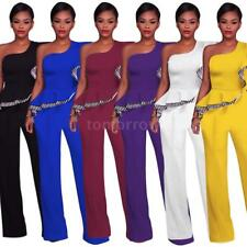 Women One Shoulder Jumpsuit Ruffled Wide Leg Pants Party Romper Playsuit N3W0