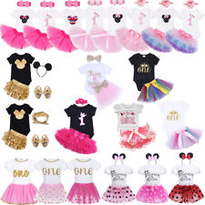 Girl Baby First 1st Birthday Romper Dress Outfits Tutu Skirt Headband Cake Smash