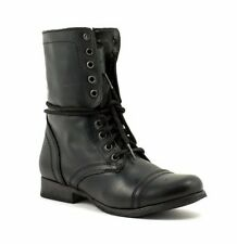 Steve Madden TROOPA Womens Black Leather High Lace Up Combat Boots Shoes