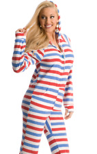 Unisex Red, White and Blue America Polar Fleece Adult Sized Footed Pajamas