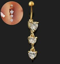 Stunning Gold Belly Piercing Crystal Navel Bar ~ Plus Free Gift Pouch, UK Seller