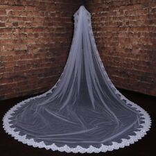 3M White Ivory 1 Layer Lace Wedding Bridal Accessories Veils With Comb 1154