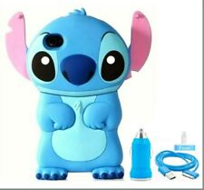3D Cartoon Character Stitch+Ear Flip Hard Back Case Cover for iPhone 4/4s,Bundle
