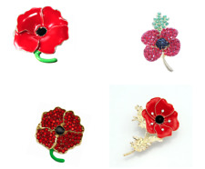 ***Red Enamel Poppy Brooches & Crystal Gold Colour Badges  - Gift Remembrance***