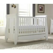 Sleigh Cot Drawer Change Table Mattress Pad Crib Baby Bed Chest  White Walnut