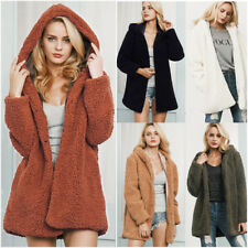 Women's Fashion Winter Faux Fur Long Sleeve Coat Hoodie Jacket Outerwear Popular