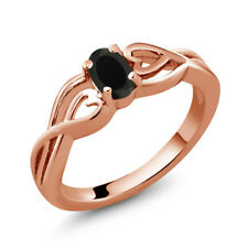 0.39 Ct Oval Black Onyx 18K Rose Gold Plated Silver Ring