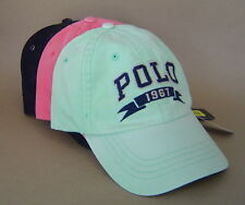 NWT POLO RALPH LAUREN Cotton Chino SPORTS CAP PONY Baseball Golf Hat GREEN CORAL