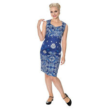 Banned Follow You Blue Womens Floral Baroque Knee Length Vintage Retro Dress