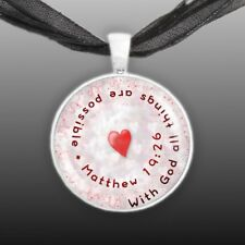"With God All Things Are Possible Matthew 19:26 Bible Quote 1"" Pendant Necklace"