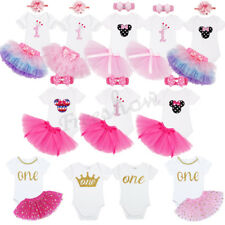 Infant Baby Girls Princess Birthday Romper Cake Dress Tutu Skirt Outfit Headband