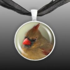 "Olive Green Northern Female Cardinal Bird Photo 1"" Pendant Necklace Silver Tone"