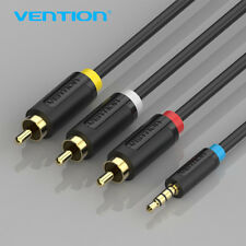 3.5 mm Male Jack to 3 x Male RCA Phono Cable Lead Audio Video AV Adapter