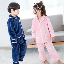 2-9Y 2pcs Boys Girls Flannel Warm Pajamas Set Baby Kids Sleepwear Night Wear Set