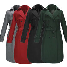 Womens Winter Warm Lapel Double-Breasted Long Parka Coat Trench Outerwear Jacket
