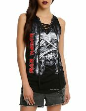 Iron Maiden T-Shirt Powerslave metal rock Lace Up Tank Top M L XL 2XL 3XL NWT