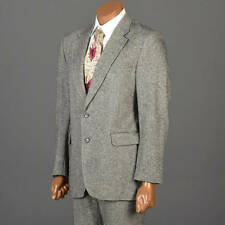 Mens Vintage 70s Suit 3 Piece Tweed Fleck 2 Button Dillards Wool Gray Custom New
