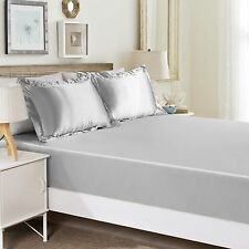 """1000TC Egyptian Cotton UpTo 30"""" Inch Deep Pocket Fitted Sheet All Size Silver"""