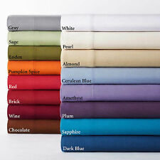 Fitted Sheet+2 Pillow Case 18 inch Deep Pocket 1000TC Egyptian Cotton All Size: