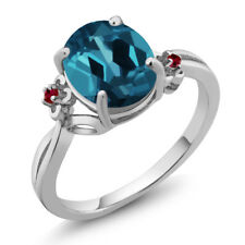 2.83 Ct Oval London Blue Topaz Red Created Ruby 14K White Gold Ring