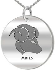 New 0.925 Sterling Silver 1in Round Aries Zodiac Polished Pendant Necklace
