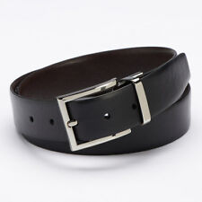 New APT·9 Mens Feather Edge Black & Brown Reversible Bonded Leather Belt $28