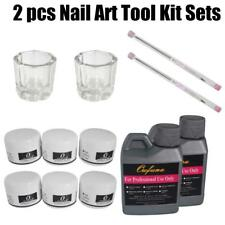 2pcs Portable Nail Art Tool Kit Set Crystal Powder Acrylic Liquid Dappen Dish LN