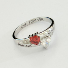 925 Sterling Silver Personalized Couple's Name Birthstones Promise Ring Gift