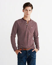 Abercrombie & Fitch T-Shirt Men's L/S Henley Icon Tee Top XL Burgundy Stripe NWT