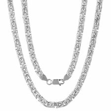 Sterling Silver 925 Mens Gents Chunky Square Hollow Byzantine Chain Necklace 6mm