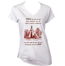 AMERICAN NATIVE INDIAN HATE YOU - NEW WHITE COTTON LADY TSHIRT