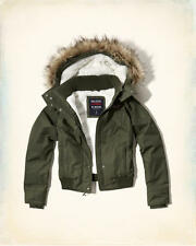 Abercrombie & Fitch - Hollister All Weather Sherpa Bomber Jacket S Olive NWT