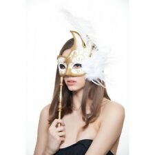 Venetian Masquerade Ostrich feather flower Swan Costume Prom Party Stick Mask