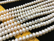 AA 8-9mm white button freshwater pearls,Rondelle pearl Beads