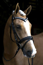 NEW Black Snaffle HORSE BRIDLE With Reins BLING BROWBAND Cob or Full Size