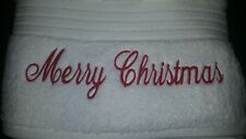 BATH TOWEL SET personalised embroidered MERRY CHRISTMAS WORDS ONLY