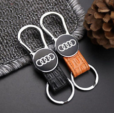For AUDI Elegant Fashion Genuine Leather Metal Car Keychain Car Key Ring
