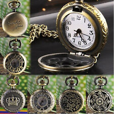 Women's  Vintage Retro Bronze Quartz Pocket Dress Watch Pendant Chain Necklace
