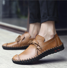 Men Casual Flats Leather Outdoor Lace Up Soft Round Toe Oxfords Sneaker Shoes